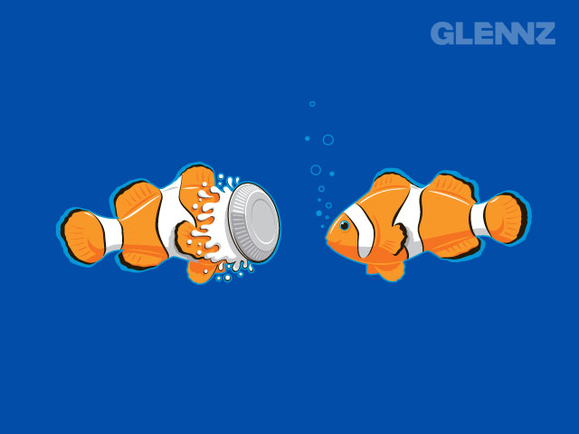 Glennz clownfish design is AVAILABLE AS A SHIRT OR LAPTOP SKIN!