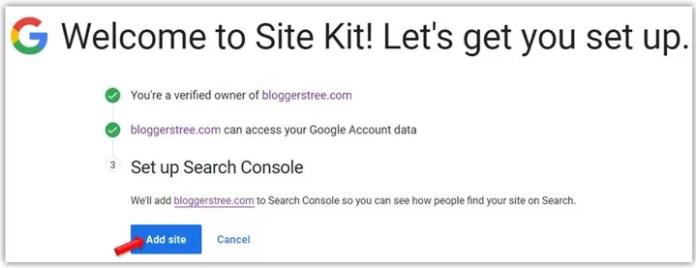 Add Site in Site Kit Plugin