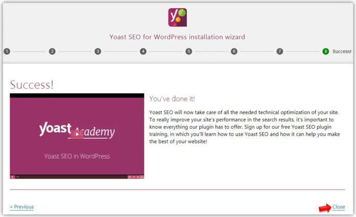 Configuration Wizard Success Message in Yoast SEO
