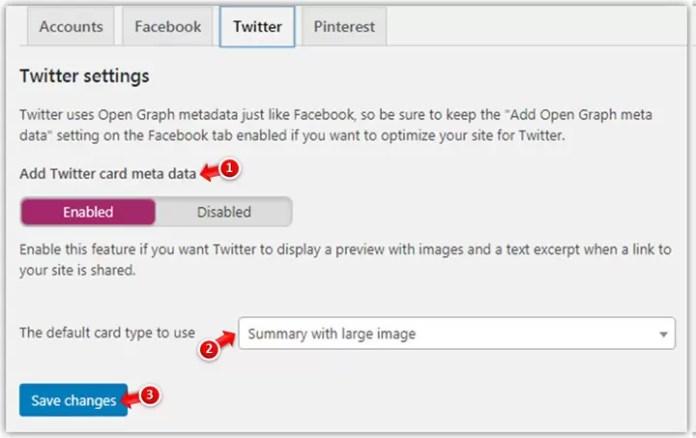 Twitter Settings in Yoast SEO Plugin