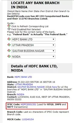 What is IFSC CODE in Hindi?