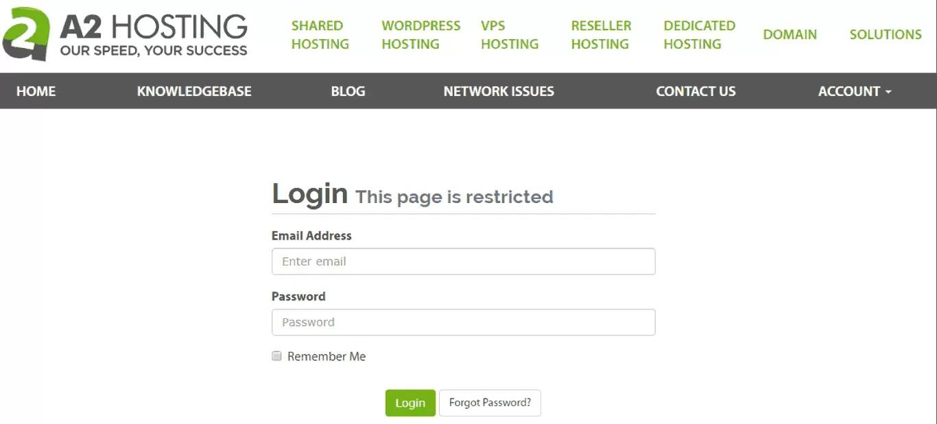 A2Hosting Login Page