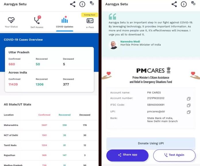 COVID-19 Updates in Aarogya Setu Android Mobile App