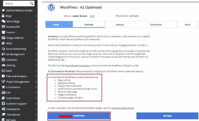 Install WordPress in A2Hosting cPanel