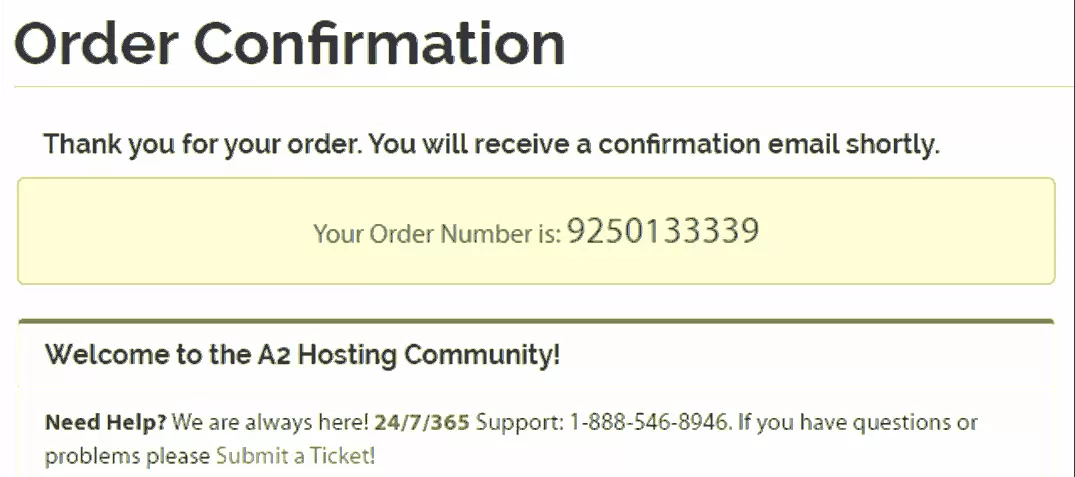 Order Confirmation in A2Hosting