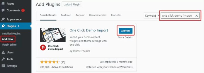 install One Click Demo import plugin in WordPress