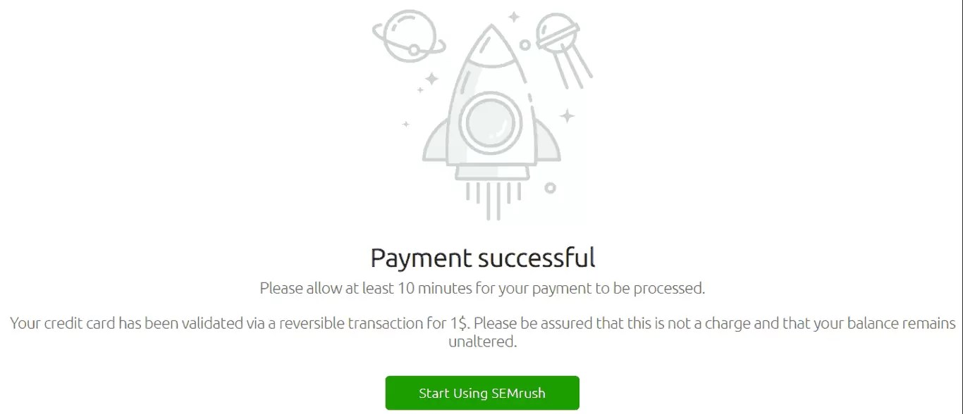Payment Successful Page for SEMrush Free Trial