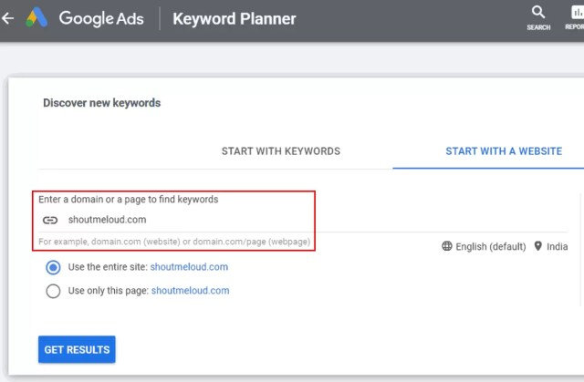 Find High Ranking Keyword from any Website
