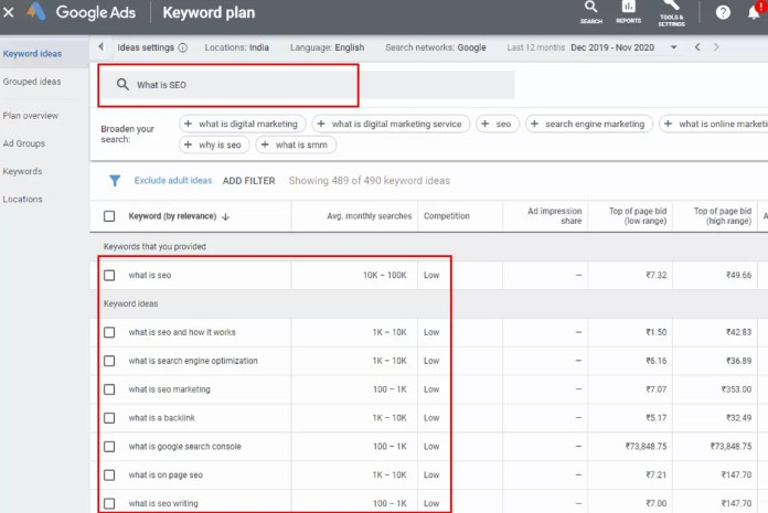 Find Keywords in Google Keyword Planner