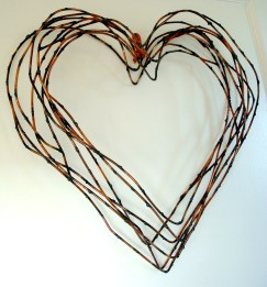 willow style heart wreath with copper ribbon