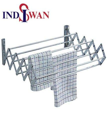 Indiswan Wall Mounting Foldable Cloth Drying Rack 7 Pipes Indiswan