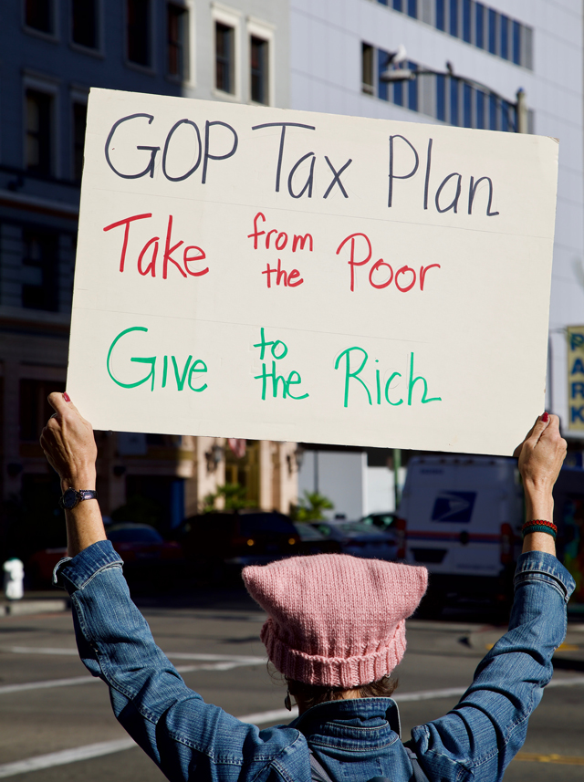 Protest Trump tax plan. Photo by Charlie Moehle