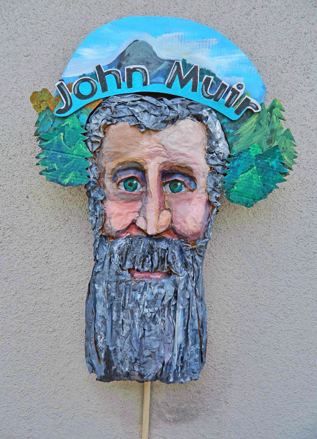 John Muir. Street theatre art by Santa Cruz artist Donna Thompson