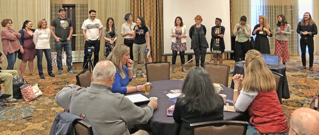 IEB Governance Committee member Nancy Latham speaking at Conclave. Photo by Tama Becker-Verano.