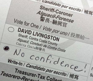 Sheriff Livingston no confidence write-in vote