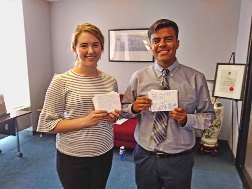 IEB member Amelia hand-delivered 160+ postcards to Senator Harris