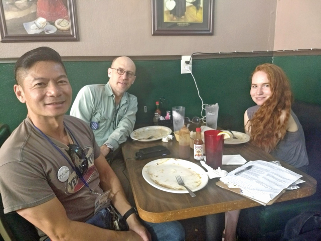 Lunch break! Ted, Carl and Fiona canvassing for TJ Cox in Sanger