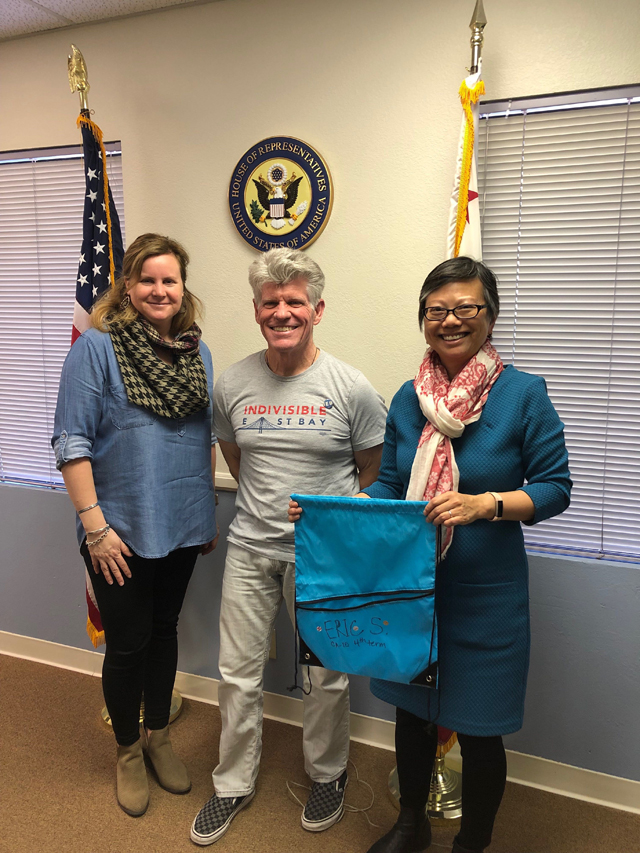IEB members Ward and Andrea meet with Swalwell District Director Mallory (on left)