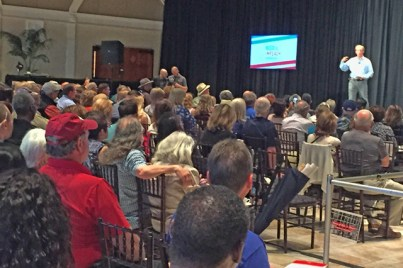 Tom Steyer in front of a packed house in Pleasanton, Ruby Hill Vineyard, photo by Katie Cameron