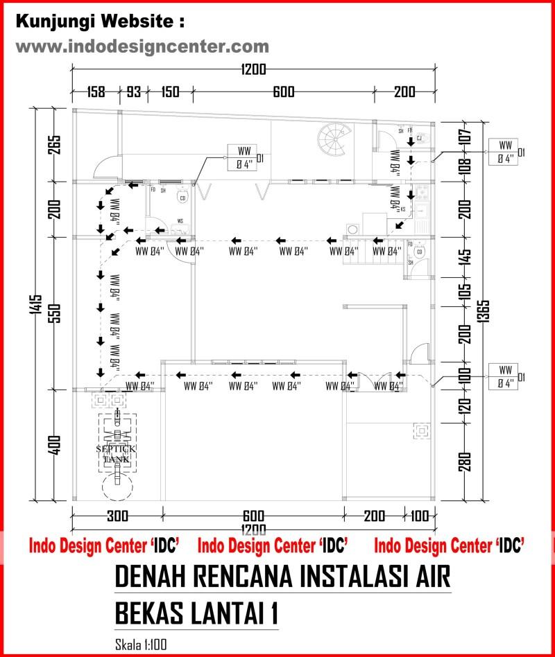 025.Denah Rencana Instalasi Air Bekas Lantai 1