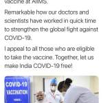 India Prime Minister Narendra Modi has been administered first dose of Bharat Biotech's Covaxin