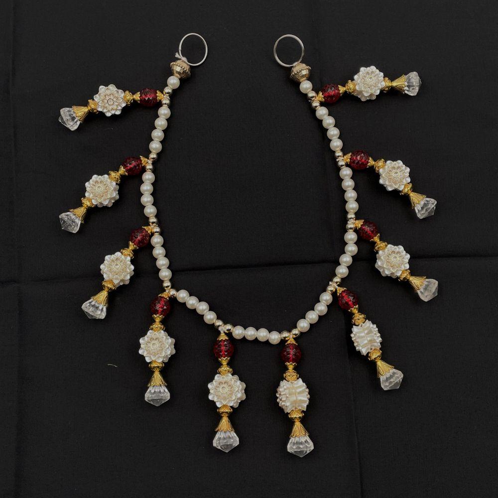 """White Flowers & Red Beads Toran - 20"""""""