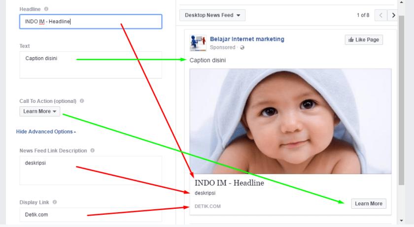 masukkan Headline, Caption, CTA, Deskripsi & Display Link iklan facebook