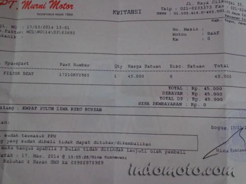 harga filter air cleaner honda beat