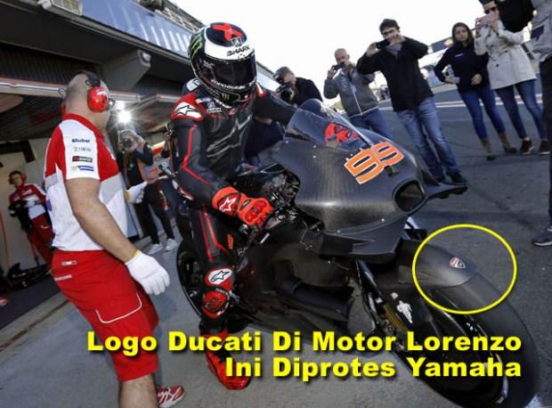 yamaha protes ducati logo di motor lorenzo