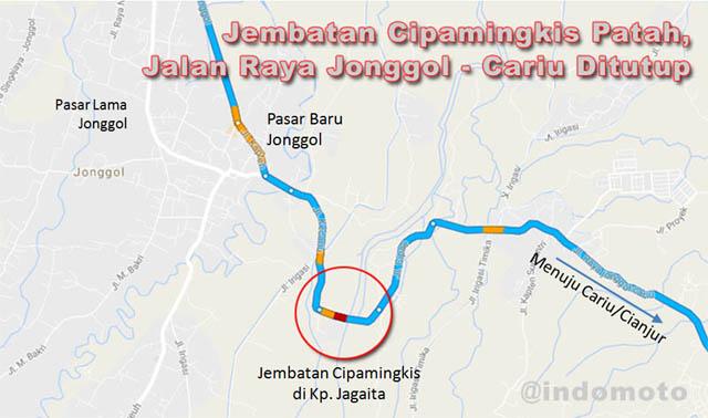 Jalan Raya Jonggol - Cariu Ditutup