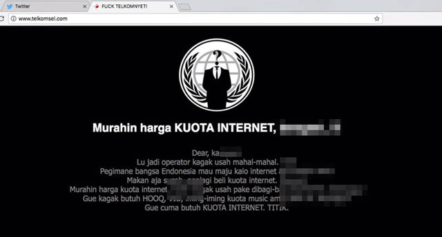 Situs Telkomsel ter-defaced.