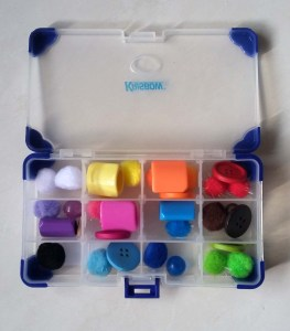 sorting tray toy with colourful items
