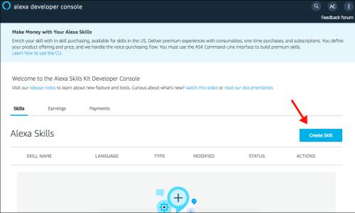 Amazon Consola de desarrollador - Crear habilidad