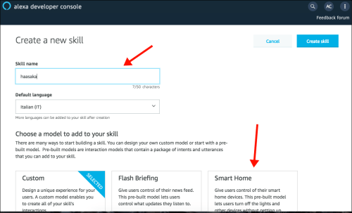 Amazon Developer Console - New skill