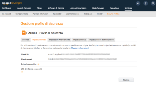 Amazon Developer Console - Web Settings Prosecurity thread - Details
