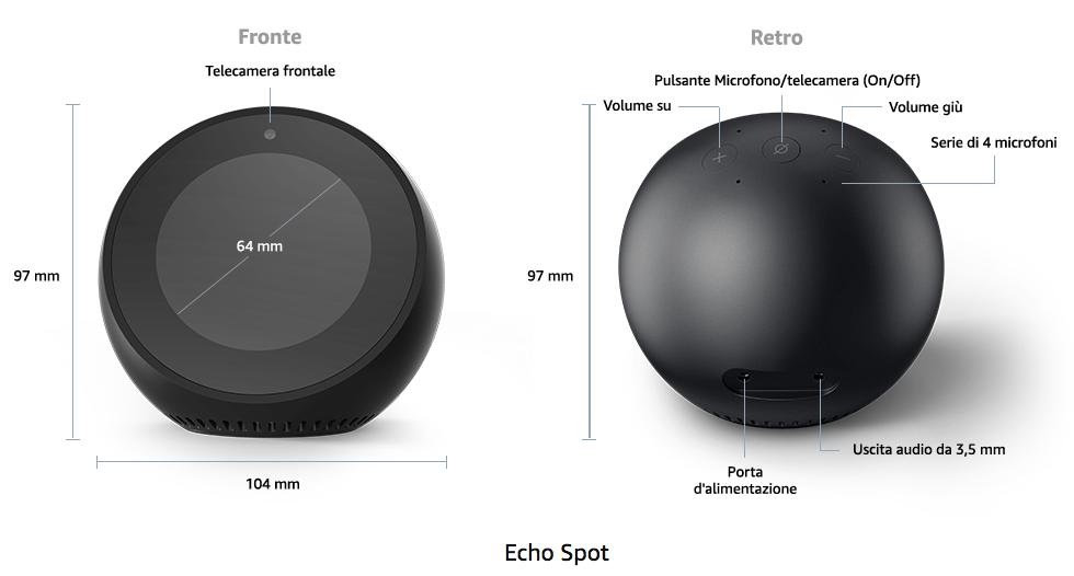 Amazon Echo Spot - Dettagli tecnici