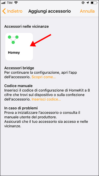 Apple HomeKit - Aggiunta accessorio Homey - 4