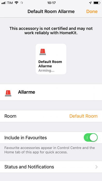 Apple HomeKit - Allarme - dettagli configurazione