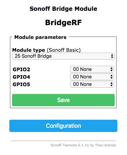 Configuration Sonoff  RF  Bridge