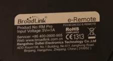 Etichetta posteriore Broadlink RM2