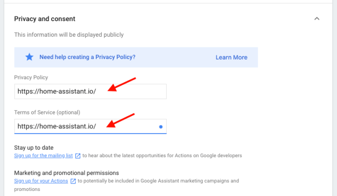 Google Actions - New project - Deploy 5