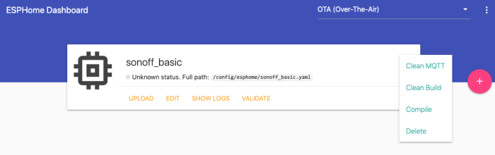 HASSIO - ESPHome add-on - Dashboard e dettagli progetto