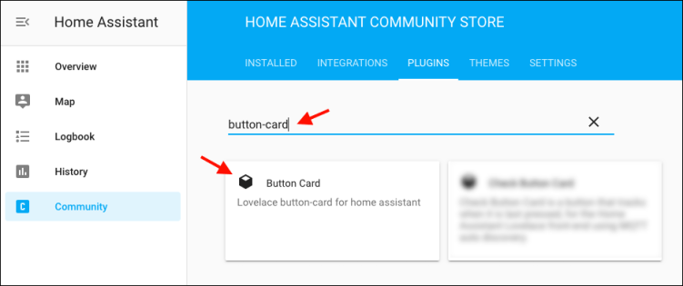 Home Assistant - Knopf Card Installation über HACS - 1