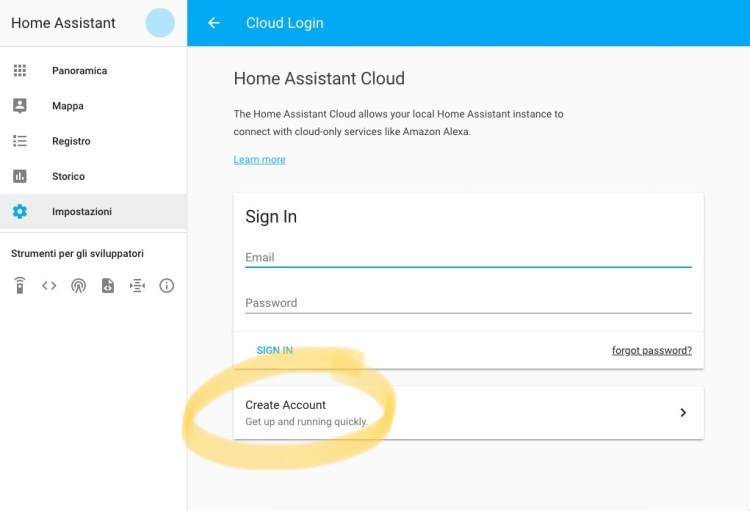 Home Assistant Cloud - Create Account
