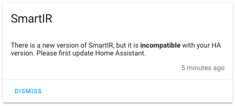 Home Assistant - SmartIR incompatibile con la versione di HA