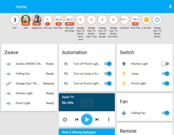 Home Assistant interfaccia