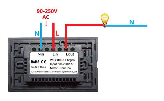 ITEAD Sonoff T1 Touch - Montaggio singolo canale