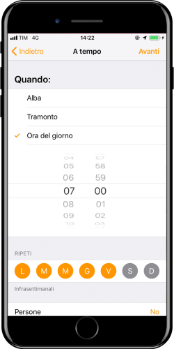 New automation Apple iOS Home - Time selection