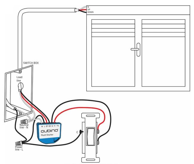 Qubino Flush Shutter - Installazione tipo
