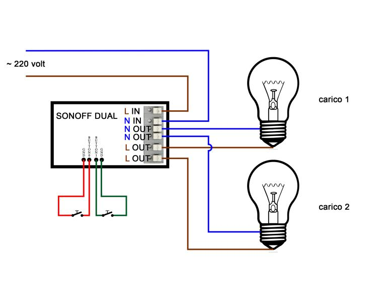 Scheme Sonoff Dual -loads - with buttons